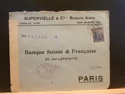 73/194    LETTRE TO PARIS  1915   FR.  CENSOR  VAP. FRISIA - Argentine