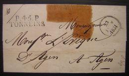 1831 Port Payé De Tonneins (Lot Et Garonne) Marque Noire Sur Une Lettre Pour Agen - Postmark Collection (Covers)