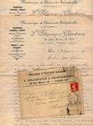 VP10.710 - Enveloppe & 2 Lettres - Mécanique Et Electricité Industrielle L. DELAGRANGE & GILGENKRANTZ à PARIS Rue Moret - Electricity & Gas