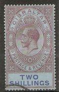 GIBRALTAR 1925 2s REDDISH PURPLE AND BLUE/BLUE SG 99a WATERMARK MULTIPLE SCRIPT CA FINE USED Cat £45 - Gibraltar
