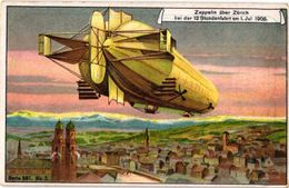 6 Cards Complete Litho Chromo Set C1900 PUB Crême LIEBIG CREME - German Text  - Motorluftschiff Zeppelin Bodensee ZURICH - Liebig