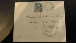Lettre Corp D'Armée Noumea 16 Juilet 1893 A Destination Du Paquebot Armand Behic Avec Carte De Visite MR Genevois - Briefe U. Dokumente
