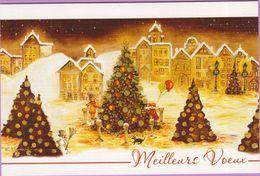 Voeux °° Noël - Quatre Sapins Dorés Illuminés - Encart Toilé écrit 12x17 - Noël
