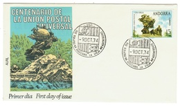 Andorra // FDC // 1974 //  Centenaire De L'UPU - Lettres & Documents