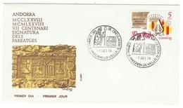 Andorra // FDC // 1978 //  7ème Centenaire De La Signature Des Pareatges - Lettres & Documents