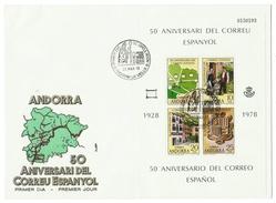 Andorra // FDC // 1978 // 50ème Anniversaire Du Courrier Espagnol - Lettres & Documents