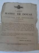 1re Affiche:MAIRIE DE DOUAI.Construction D'un Amphithéâtre D'Anatomie.Becquet De Mégille.23 Février 1821.D.43,5 X 34 Cm. - Historical Documents