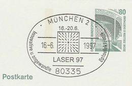 1997 GERMANY COVER EVENT Pmk LASER 97 APPLIED OPTOELECTRONICS Postal Stationery Card Stamps Physics - Physik