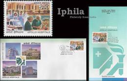 Apollo Hospital Indn FDC Folder Doctor Nurses Medicine Health Gesundheit Médicament Médical Disease Ambulance Patient - Medicine