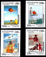 HELICOPTERS-HIGH SEAS RESCUE-GREENPEACE-CAMBODIA-MS WITH SET OF 4-MNH-D1-59 - Hélicoptères