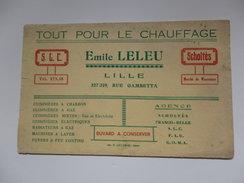 """Buvard """"Tout Pour Le Chauffage"""" Emile Leleu 327-329, Rue Gambetta à Lille (59). - Blotters"""