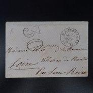 1865 PETITE LETTRE AVEC TEXTE COVER CAD ST JUST EN CHEVALET TAXE 30 - France