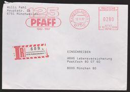 M 894) AFSt Kaiserslautern 1987 Auf Einschreiben R-Brief: 125 Jahre Pfaff, Blechblasinstrumente (Musik), Nähmaschinen - Fabriken Und Industrien