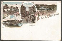 Hilsen Fra Kjobenhavn, Litho With 4 Pictures From 1897 (mensioned In The Upper Left Corner), Unused - Dinamarca