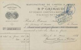 75. Paris. Manufacture De Carte Sà Jouer B. P. Grimaud.Brevets D'invention S.G.D.G. - 1881 - VR_C2_36 - France