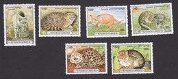 Cambodia, Scott #1491-1496, Mint Hinged, Cats, Issued 1996 - Cambodge