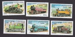 Cambodia, Scott #1507-1512, Mint Hinged, Trains, Issued 1996 - Cambodia