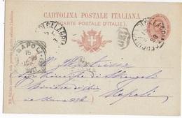 STORIA POSTALE REGNO - ANNULLO TONDO RIQUADRATO NAPOLI (???) (???)  - 15.OTT 1898 SU INTERO - 1878-00 Umberto I
