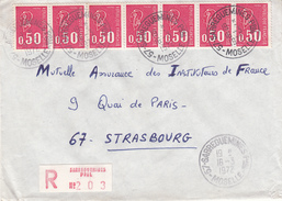 Env Reco Affr Y&T 1664 X 7 Obl SARREGUEMINES PPAL Du 16.3.1972 Adressée à Strasbourg - Elsass-Lothringen