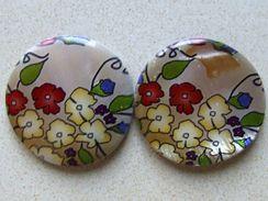 2 Perles Plates Multicolore En Coquillage Teint Environ 30x4mm  Vous Recevrez Des Perles Similaires à Celles Figurant Su - Perles