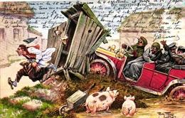 Automobil, Autofahrer Zerstören Toilettenhäuschen, Sign. Arthur Thiele, 1910 - Thiele, Arthur