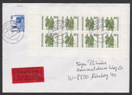 Weimar Schiller Goethe Eil-Bf Sonneberg  Mit MH20 Portogenau Aus Sonneberg, Rs. Eing.-St. Nürnberg - [6] Democratic Republic