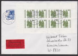 Weimar Schiller Goethe Eil-Bf Sonneberg  Mit MH20 Portogenau Aus Sonneberg, Rs. Eing.-St. Gunzenhausen - [6] Democratic Republic