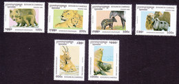 Cambodia, Scott #1558-1563, Mint Hinged, Animals, Issued 1996 - Cambodja