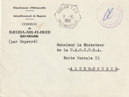 """Algérie Cachet Agence Postale """""""" DJELIDA S.A.S ORLEANSVILLE 11/10/61 """""""" Sur Lettre FM En-tête Arrondissement De Duperré - Algérie (1924-1962)"""