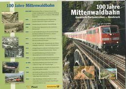"""Österreich/BRD 2012: Gemeinsames Jubiläum ET.Faltkarte  """" Mittenwaldbahn"""" - 2011-... Gebraucht"""