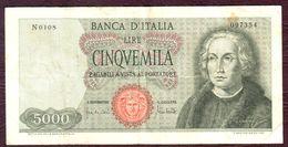 ITALIE - 5000 LIRE Christophe Colomb 20/01/1970 - Sign. Carli & Lombardo - Pick 98c - [ 2] 1946-… : Républic