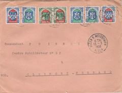 BLASONS ALGERIE X 7 SUR LETTRE ALGER MEISSONIER 13/3/58 POUR COMMANDANT CENTRE MOBILISATEUR CLERMONT FERRAND - Poststempel (Briefe)