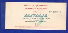 Airline ALITALIA Ticket Biglietto 1° Classe 1959 Roma > Francoforte - Transportation Tickets
