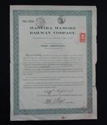 TRUST CERTIFICATE-MADEIRA MAMORE RAILWAY COMPANY-N°2224-10.08.1923 - Chemin De Fer & Tramway