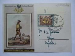GERMANY 1943 TAG DER BRIEFMARKE FDC MIT BERLIN SONDERSTEMPEL WIENER KLAPPERPOST 1941 KARTE - Deutschland
