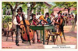 6 Cards Litho Chromo  C1900 PUB Crême LIEBIG CREME - German Text  - SERIE 650 - Strassenmusik Bukoba Zieharmonika SIOUX - Liebig