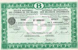 Action Ancienne - Société Nationale Des Chemins De Fer Belges - Titre De 1937 - Chemin De Fer & Tramway