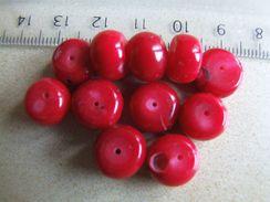 2 Perles Rondelles De Corail Rouge Environ 11x8mm - Perles