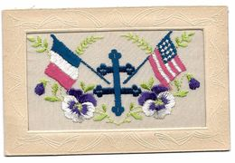CARTE BRODEE - Militaria - Drapeaux, Croix De Lorraine - Timbres Avec TAMPON CAPEX 87 TORONTO France Et Canada - Embroidered