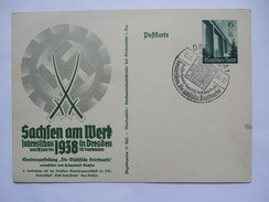 GERMANY 1938 POSTKARTE SACHSEN AM WERK JAHRESSCHAU IN DRESDEN MIT DRESDEN SONDERSTEMPEL - Allemagne