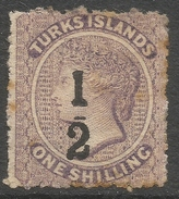 Turks Islands. 1881 QV Surcharges. ½d On 1/- MH. With Toning SG 13 - Turks And Caicos