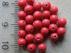 20 Perles De Corail Rouge Environ 4mm - Perles