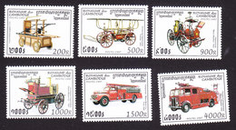 Cambodia, Scott #1604-1609, Mint Hinged, Fire Trucks, Issued 1997 - Cambodge