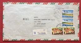 AEROGRAMMA ESTERO-ITALIA RACCOMANDATO DA C.T.T. REGISTOS BEIRA  A  MILANO  VIA LISBONA IN DATA  27/10/72 - Mozambico