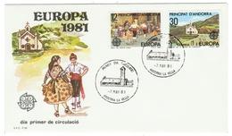 Andorra // FDC // 1981 // Europa 1981 - Andorre Espagnol