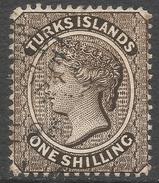Turks Islands. 1887-89 QV. 1/- Used. Crown CA W/M SG 60 - Turks And Caicos