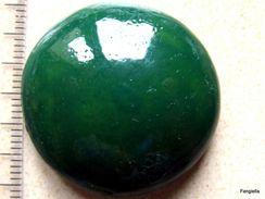 1 Cabochon Vert En Céramique Fabrication Artisanale Environ 32x32x10mm - Perles
