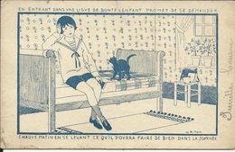 Chat Sur Un Lit , Carte De La Ligue De Bonté , Dessin Signé: H. Piton - Cats