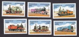 Cambodia, Scott #1631-1636, Mint Hinged, Trains, Issued 1997 - Cambodja