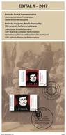 Brochure Edital Do Selo Reforma Luterana Lutero Luther Martin Luter Brazil 2017 - Brazil